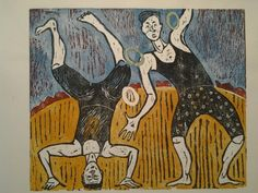 Two young jugglers -woodcut print by iwona carins