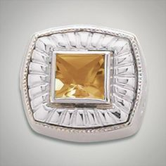 6x6 mm Square Citrine Champagne set in Sterling Silver Slide. All Sterling Silver is Rhodium plated. Metal:Sterling Silver Designer:Goldman-Kolber $ 110.00 Item #: 3K1ZH5 Call 870-863-8818 for personal consultation.