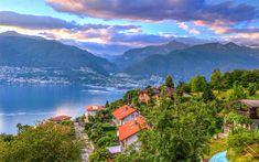 Download wallpapers Gambarogno, Alps, Maggiore Lake, mountains, Ticino, Switzerland, Europe