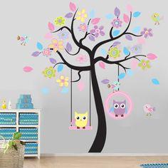 Flower Tree & Owl Swing Wall Stickers Art Mural Decal Kids Nursery Bedroom Decor
