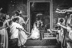 молодожены выходят после заключения брака, их обсыпают рисом, ловим эмоции молодожен и гостей, показана локация