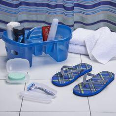 Deluxe Shower Pak with Plaid Flops | Dorm Bedding and Bath | OCM.com