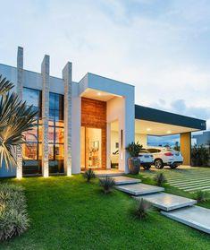 """656 Likes, 56 Comments - Lica Giordano e Gelise Almeida (@ag_arquitetas) on Instagram: """"Fachada de Projeto arquitetônico de residência térrea!! #arquitetura #projetoresidencial #pedra…"""""""