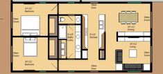 Really simple 2 bedroom 1 bath floor plan - no wasted space - I wld even add another master private toilet to other side of the bathroom. Small House Plans, House Floor Plans, Building Plans, Building A House, Contemporary House Plans, Contemporary Bathrooms, Cottage Plan, Cottage House, Apartment Plans