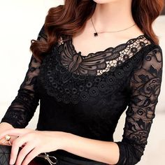 Hollow Out Lace Blouse 2018 Elegant Shirt Ladies Tops Crochet Long Sleeve Embroidery Patchwork Women Blouses Tops Cute Blouses, Shirt Blouses, Blouses For Women, Black Lace Blouse, Women's Summer Fashion, Lace Tops, Plus Size Outfits, Crochet, Size Clothing