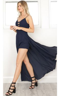 23c57fed894 Lover Of The Light maxi playsuit in navy. Navy Playsuit