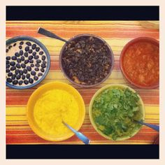 Olympic Opening Ceremonies Party with Olympic Themed Dips: Blueberry Fruit Dip, Tangy Mustard Curry Dip, Chocolate Peanut Butter Oreo Dessert Dip, Guacamole, and Salsa.
