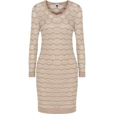 M Missoni Metallic crochet-knit cotton-blend mini dress ($268) ❤ liked on Polyvore featuring dresses, beige, short fitted dresses, crochet dress, fitted dresses, pink fitted dress and pink slip