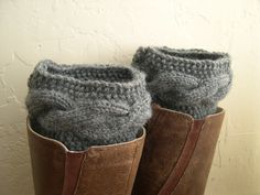 Gray Leg Warmers - Gray Boot cuffs - Gray boot toppers  - Winter Fashion 2013 - Knit boot tops - Machine Washable - Gray boot socks. $34.00, via Etsy.