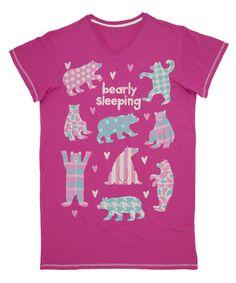 "Hatley Nature ""Bearly Sleeping"" Women's V Neck Nightshirt"