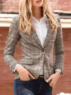 2015 New Stylish Women's Plaid Elbow Patches Two Button Slim Fit Blazer Ladies Autumn Suits Basic Jacket Casual Blazer Feminino Plaid Jacket, Plaid Blazer, Blazer Outfits, Blazer Fashion, Jacket Style, Fashion Outfits, Casual Blazer, Blazer Jacket, Blazer Jeans