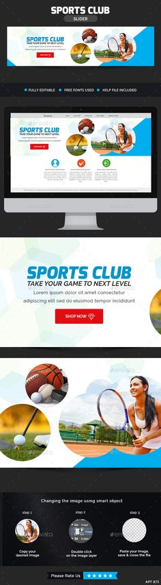 Sports Club Slider by doto Awesome quality slider template PSD file ready for your Services, products, campaigns.Each PSD file is layered and fully organised Sports Clubs, 100 Free Fonts, Golf Player, Fb Covers, Photos For Sale, Sports Equipment, Sliders, Sports Banners