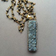 Titanium druzy necklace pyrite chain necklace blue by Sparkazilla on Etsy www.etsy.com/shop/sparkazilla