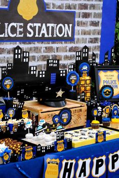 Blue and yellow police birthday party! See more party ideas at CatchMyParty.com!