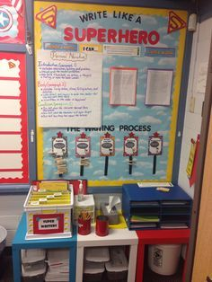 Superhero theme classroom. Writing bulletin board.