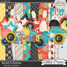 Bowl-A-Rama - Border Clusters by Connie Prince. Includes 4 border cluster elements, saved in PNG format. Shadows ARE included. Scrap for hire / others ok.