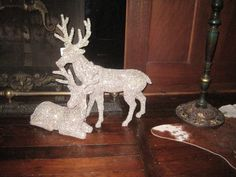 "Christmas is coming! Just unpacked huge boxes of fabulous goodies. These reindeer are covered in clear ""diamonds"" Imagine them on your mantle or sideboard nestled in greens! SORRY ALL SOLD"