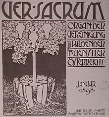 Alfred Roller Cover of the first issue of Ver Sacrum Gustav Klimt, Klimt Art, Art Nouveau, Koloman Moser, Vienna Secession, Mini Tattoos, Grafik Design, Little People, Avant Garde