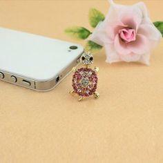$2.66 Sweet Rhinestone Decorated Tortoise Shape Cellphone Dustproof Plug For Women
