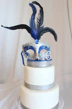 Masquerade, Mask, Rhinestone Sweet 16, 15, Quince Cake Topper Royal Blue and Silver, Venetian, Carnival