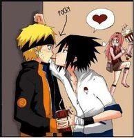 Sasuke X Naruto Pocky kiss XD  Anime: Naruto  OMG Sakura is so pissed lol