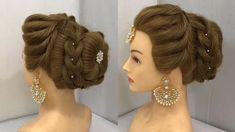 Most Beautiful Hairstyle for Wedding or party Easy Hairstyles Bun Hairstyle with Trick - 10 hairstyles For Girls elegant ideas Wedding Hairstyles Tutorial, Indian Wedding Hairstyles, Bun Hairstyles For Long Hair, Trending Hairstyles, Girl Hairstyles, Hairstyles Videos, Engagement Hairstyles, Donut Bun Hairstyles, Bridal Hairstyle Indian Wedding