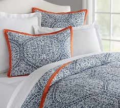 Shop Pottery Barn's new bedding and duvet covers featuring our latest designs and colors. Find new arrival bed sheets and create a room full of comfort and style. Bedding Master Bedroom, Home Bedroom, Bedroom Furniture, Bedroom Decor, Bedrooms, Bedroom Ideas, Outdoor Furniture, Orange Bedding, Bedroom Orange