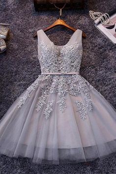 Prom Dresses Short Homecoming Dresses With Appliques Sleeveless Prom Dresses Cute Prom Dresses Lace Homecoming Dresses Prom Dresses 2019 Grey Prom Dress, Lace Homecoming Dresses, V Neck Prom Dresses, Tulle Prom Dress, Grad Dresses, Party Dresses, Lace Dress, Evening Dresses, Quinceanera Dresses