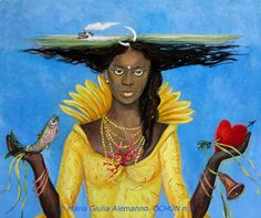 Oshun, or Ochun (pronounced [ɔʃún]) in the Yoruba religion, is an Orisha who reigns over love, intimacy, beauty, wealth and diplomacy.   She is associated with the color yellow, metal brass,[1] peacock feathers, mirrors, honey and anything of beauty, her principal day of the week is Saturday and the number she is associated with is 5. She is the river goddess