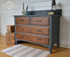 Antique rustic chest of drawers. Painted in a custom chalk paint.  www.rawrevivals.com.au