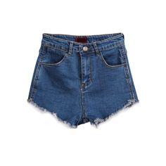 Blue Pockets Fringe Denim Shorts SH1500052 ($17) ❤ liked on Polyvore featuring shorts, bottoms, sheinside, blue, denim shorts, high rise denim shorts, ripped jean shorts, destroyed jean shorts and high-waisted jean shorts
