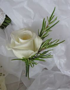 Rosemary and rose buttonhole