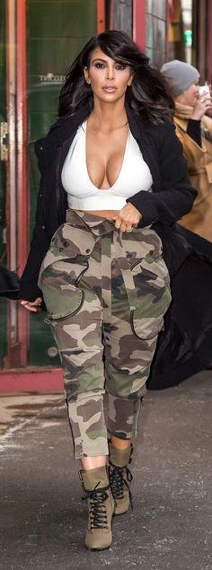 Kim Kardashian Street Style: Winter crop top, Lanvin coat and Giuseppe Zanotti heels
