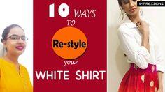 10 Ways to style with plain white shirt Plain White Shirt, White Shirts, Collar Shirts, Simple Style, Diy Fashion, Style Ideas, English, Wedding Dresses, Easy