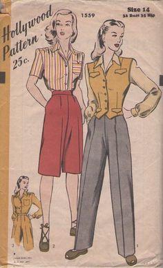 Vintage 40's Kate Hepburn Swing Era High Waisted Long Shorts, Slacks, Trousers, Blouse & Weskit Vest
