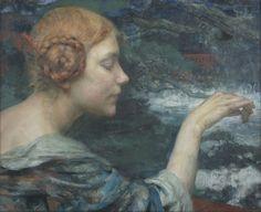 """Edgar Maxence (1871-1954) """"Jeune Fille Rousse Nourrissant des Cygnes"""" by Art & Vintage, via Flickr"""