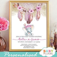 Celebrate your little peanut with these boho chic elephant baby shower invitations. The elephant baby shower invitations feature a hand painted watercolor native American dream catcher and an adorable baby girl elephant wearing a floral pink bow with feathers against a white backdrop sprinkled with faux gold glitter. #elephantbabyshower #babyshowerideas #bohochic #babyshowerinvitations