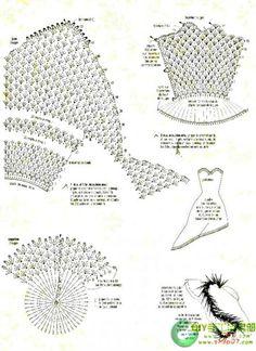Схема вязания крючком зеленого платья для Барби часть 2.