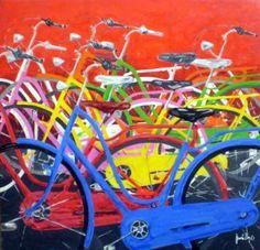 Color Bikes red Medium Art, Saatchi Art, Paint Colors, Pop Art, Original Paintings, Bicycle, Portrait, Wood, Artwork
