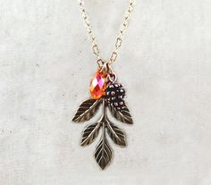 #nature #leaves #pinecone #bridesmaid #necklace #crystal Pinecone Necklace Leaf Necklace Nature by laurenblythedesigns