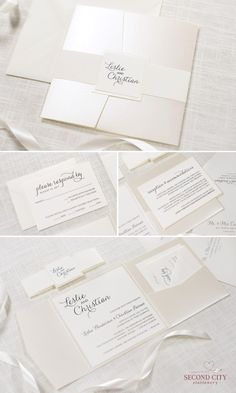 Elegant and Formal Cream / Ivory and Champagne / Opal Shimmer Square Pocket Fold Wedding Invitation Suite | by Second City Stationery