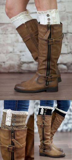 I WANT! So cute!! Boot cuffs with vintage buttons. Chic look without the bulk of boot socks.  LOVE!