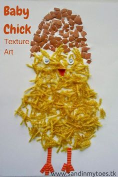 Baby Chick Texture Art - A baby chick art for kids made from different textured material.
