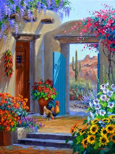 Mediterranean – Original Acrylic Painting on Canvas, in/, unframed , Colorful Artwork Mexican Artwork, Mexican Paintings, Mexican Folk Art, Landscape Art, Landscape Paintings, Southwestern Art, Desert Art, Beautiful Paintings, Flower Art