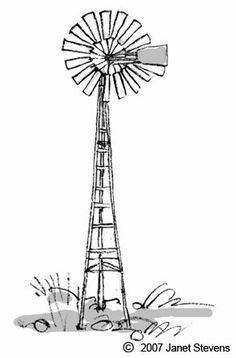 Windpomp by Janet Stevens Windmill Drawing, Windmill Tattoo, Windmill Art, Old Windmills, Stencil Art, Stencil Designs, Stencils, Painting Lessons, Art Lessons