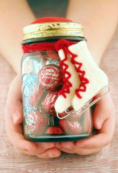 "Date in a Jar:  Fill a Mason jar with gloves, hot chocolate mix, lip balm, and chocolate, and present it to a loved one as an ""Ice Skating Date"" in a jar."