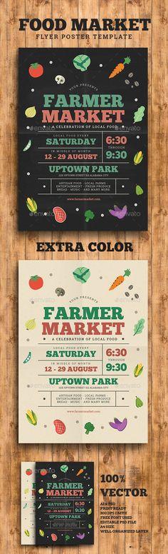 Farmer/Food Market Flyer Template PSD, AI Illustrator. Download here: http://graphicriver.net/item/farmerfood-market-flyer/16118198?ref=ksioks