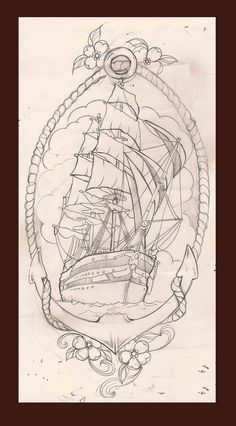 ship tattoo sketch