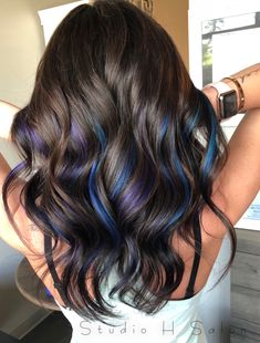 Under Hair Dye, Under Hair Color, Bold Hair Color, Hair Color For Black Hair, Pretty Hair Color, Blue Hair Streaks, Blue Ombre Hair, Black Hair With Highlights, Hair Color Highlights
