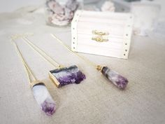 Raw Amethyst Necklace, Druzy Slice Pendant with Gold Ball Chain